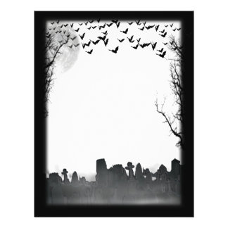 Prospectus 21,6 Cm X 24,94 Cm Silhouette de scène de cimetière de Halloween