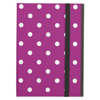 Protection iPad Air Art pourpre et blanc de pois, caisse d'air d'iPad
