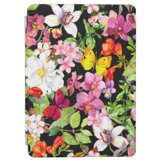 Protection iPad Air Beau, floral, peint à la main, fleurs, noir, backg