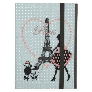 Protection iPad Air Caniche français de marche de fille vintage romant