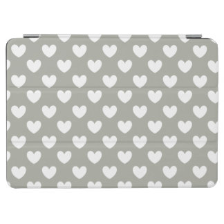 Protection iPad Air Coeurs blancs de polka sur le gris de Pussywillow