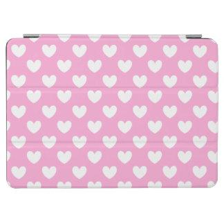 Protection iPad Air Coeurs blancs de polka sur le rose de sucrerie de