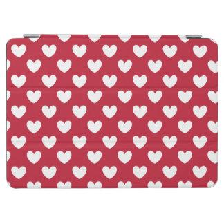 Protection iPad Air Coeurs blancs et rouges de polka
