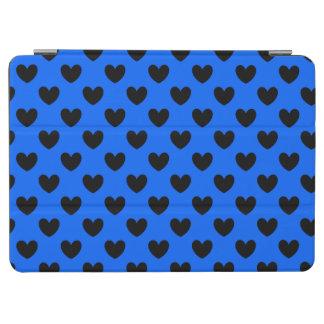 Protection iPad Air Coeurs noirs de polka sur le bleu