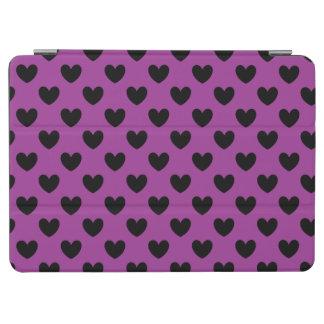 Protection iPad Air Coeurs noirs de polka sur le pourpre