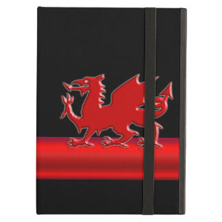 Protection iPad Air Dragon rouge stylisé de Gallois, bande métallique