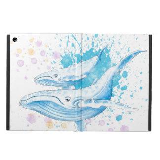 Protection iPad Air Éclaboussure de couleur de baleines bleues
