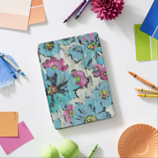 Protection iPad Air Floral rose et bleu graphique