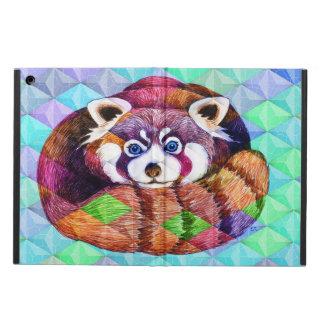 Protection iPad Air Le panda rouge concernent le cubisme de turquoise