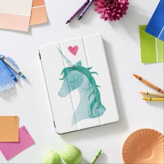 Protection iPad Air Magie bleue de licorne avec le coeur