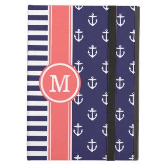 Protection iPad Air Marine et monogramme nautique de corail d'ancres