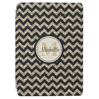 Protection iPad Air Monogramme argenté noir d'or de Chevron