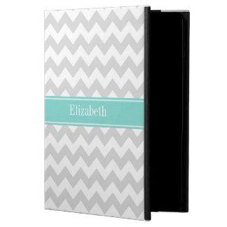 Protection iPad Air Monogramme blanc gris de nom de turquoise d'Aqua