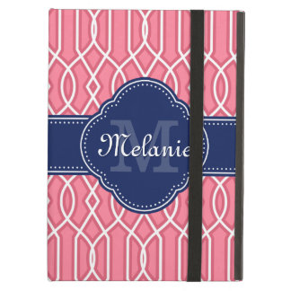 Protection iPad Air Monogramme blanc rose lumineux de marine de motif