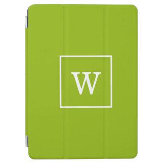Protection iPad Air Monogramme initial encadré par blanc vert pomme
