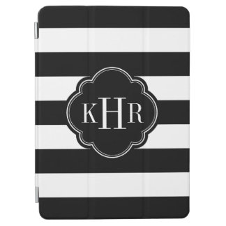 Protection iPad Air Monogramme large noir et blanc de rayures