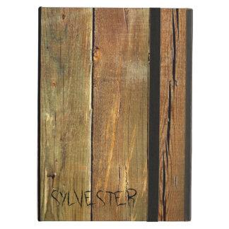 Protection iPad Air Monogramme rustique de planche de bois de
