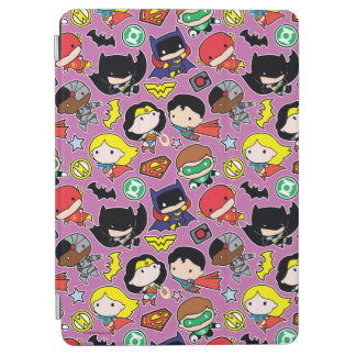 Protection iPad Air Motif de ligue de justice de Chibi sur le pourpre
