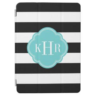 Protection iPad Air Noir et monogramme large de rayures de turquoise