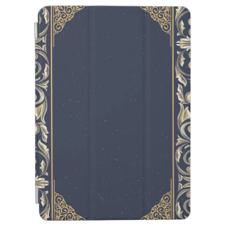 Protection iPad Air nouveau d'art, bleu marine, or, antiquité, époque