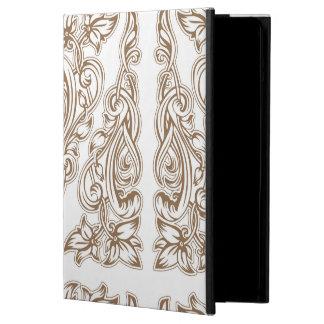 Protection iPad Air nouveau d'art, or, blanc, cru, motif, floral, bel