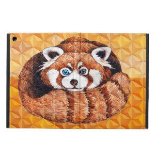 Protection iPad Air Panda rouge sur le cubisme orange Geomeric