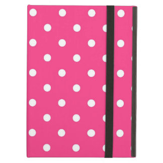 Protection iPad Air Pois rose et blanc de Fuschia, caisse d'air d'iPad