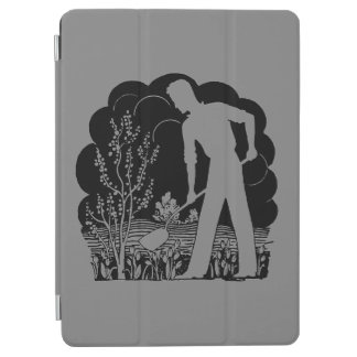 Protection iPad Air Rétro gris de silhouette de jardinier