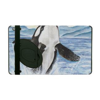 Protection iPad Aquarelle ouvrant une brèche la baleine d'orque