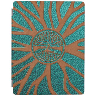 Protection iPad Arbre de la vie - Yggdrasil - cuir de relief de
