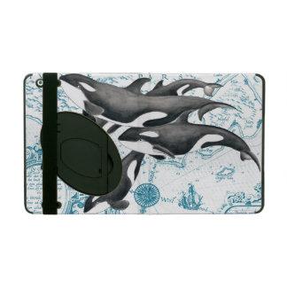 Protection iPad Bleu antique de famille de baleines d'orque