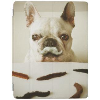 Protection iPad Bouledogue français avec une moustache