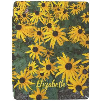 Protection iPad Brown a observé des fleurs sauvages et le nom de