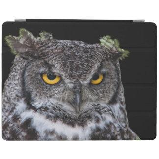 Protection iPad Brown et hibou blanc avec les yeux jaunes intenses