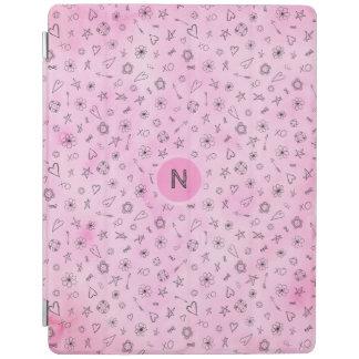Protection iPad Coeurs roses et étoiles d'aquarelle personnalisés