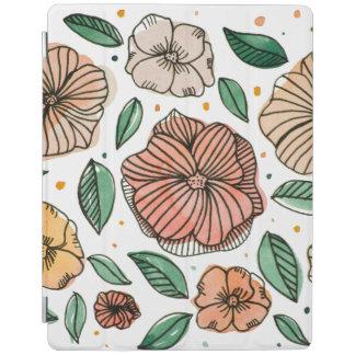 Protection iPad Fleurs d'aquarelle et d'encre - palette vintage