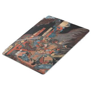 Protection iPad Héros samouraï Yorimitsu : Art vintage de bois de