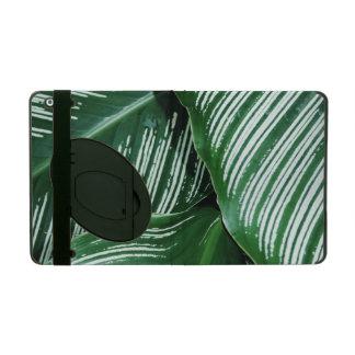Protection iPad Le feuille vert avec le blanc barre le plan
