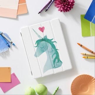Protection iPad Magie bleue de licorne avec le coeur