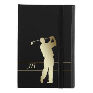 Protection iPad Mini 4 Monogramme de golfeur d'or de silhouette