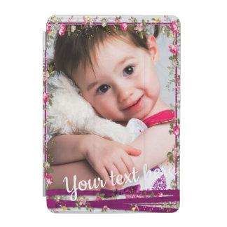 Protection iPad Mini Cadre floral de photo de ruban pourpre fait sur