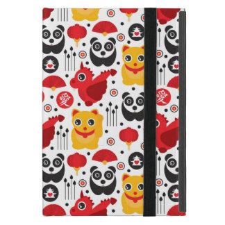 Protection iPad Mini Chat, dragon, et panda chanceux de la Chine