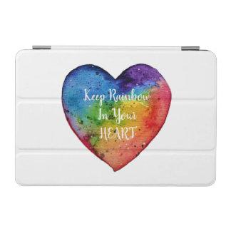 Protection iPad Mini Coeur mignon d'arc-en-ciel d'aquarelle