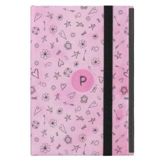 Protection iPad Mini Coeurs roses et étoiles d'aquarelle personnalisés