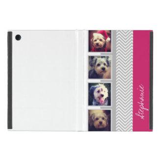 Protection iPad Mini Collage de photo avec le motif de Chevron de blanc