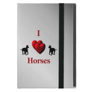 Protection iPad Mini Conception de chevaux de coeur du cool I