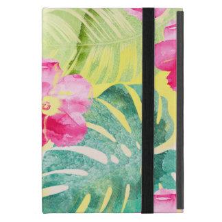 Protection iPad Mini Feuille de banane et fleurs tropicaux de ketmie
