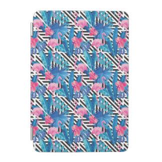 Protection iPad Mini Flamant et paumes sur le motif géométrique