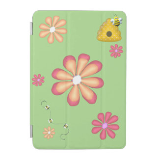 Protection iPad Mini Jardin de ressort avec des abeilles et des fleurs