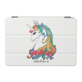 Protection iPad Mini Licorne mignonne d'arc-en-ciel d'aquarelle